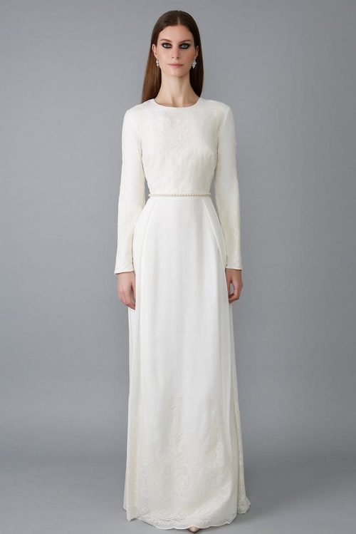Ivory Lace Sheath Skirt Tznius Modest Wedding Dress