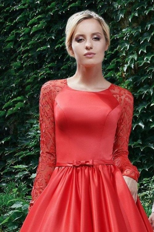 Scarlet Red Lace Satin Long Sleeve Modest Prom Dress
