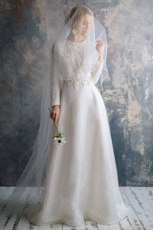 Silk Embroidered Ivory Tznius Modest Wedding Dress Veil