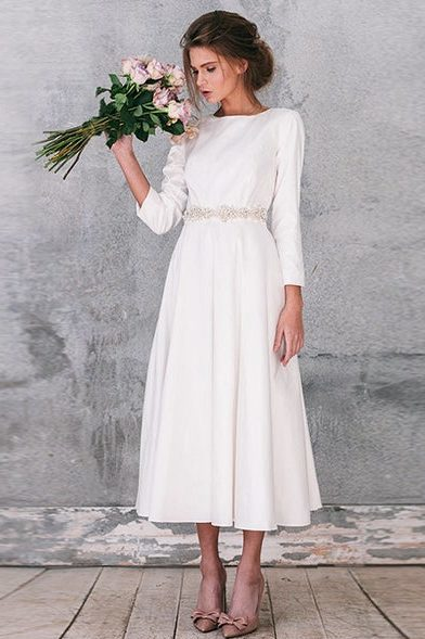 Tea Length Modest Wedding Dress Long Sleeves