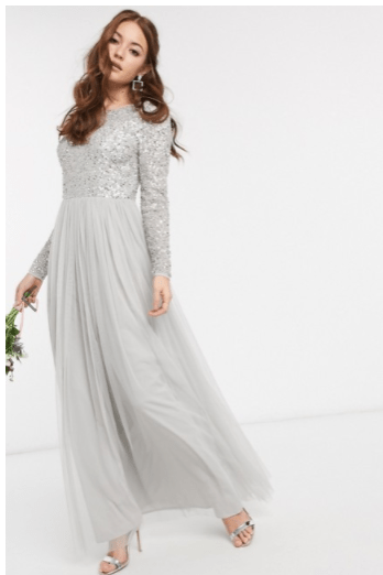 ASOS Grey Sequin Modest Formal Long Sleeves