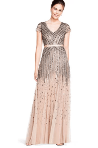 Adrianna Papell Beaded Nude Modest Formal Sleeves