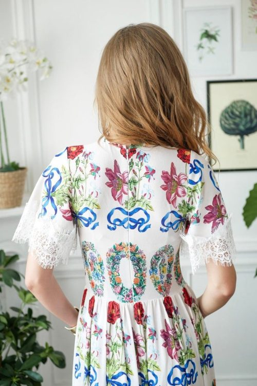 Back Detail White Boho Floral Long Modest Prom Dress Sleeves