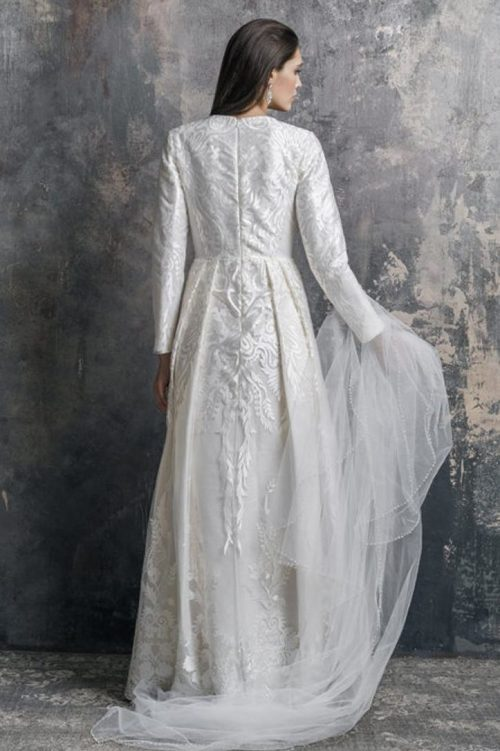 Backview White Lace Modest Wedding Dress Faux Pearl Waistband