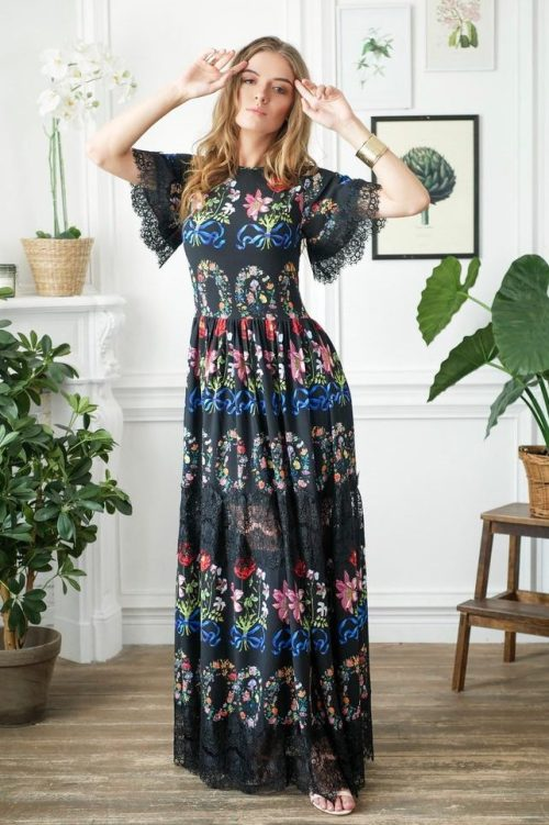 Black Floral Long Modest Prom Dress Flutter Sleeves
