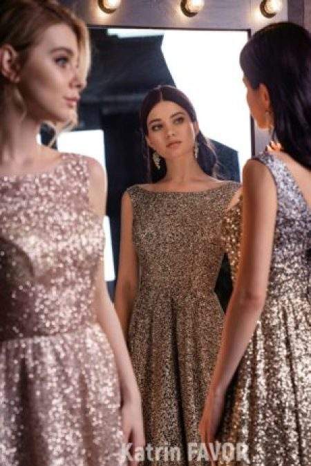 Close Up Sequin Ombre Modest Prom Dress Boatneck