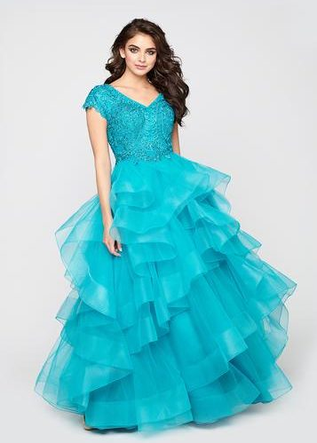 Ellie Wilde Turquoise Modest Prom Dress