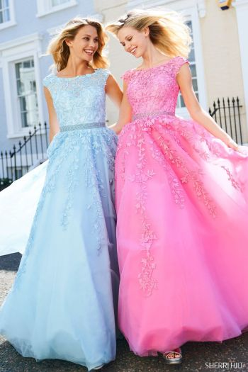 Sherri Hill Modest Prom Dresses Pink Blue
