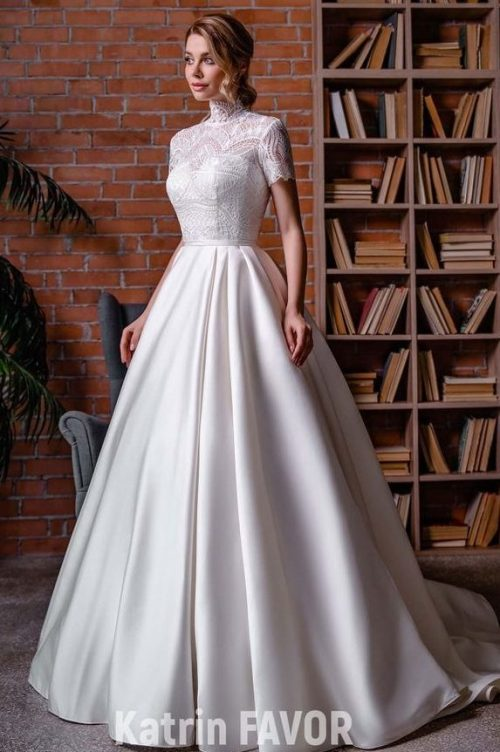 White Lace Ballgown Skirt Modest Wedding Dress Sleeves