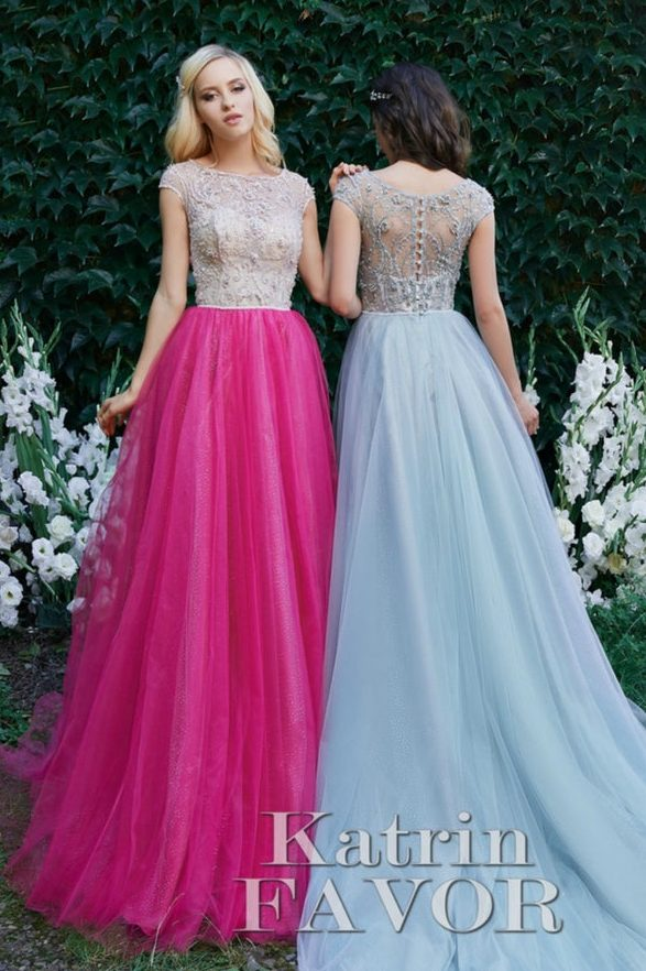 Beaded Lace Bright Pink Modest Prom Dress Cap Sleeves