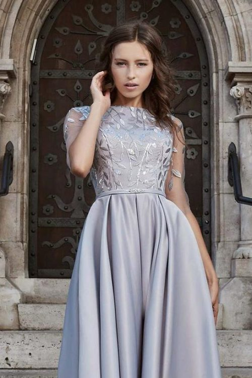 Close Up Light Grey Satin Modest Prom Dress Half Sleeves