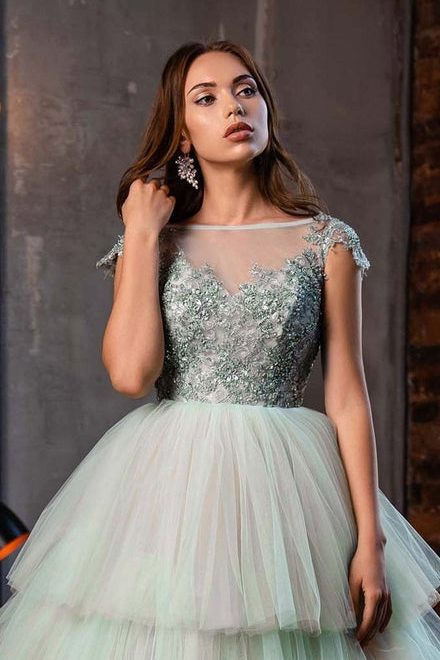 Close Up Mint Green Layered Tulle Skirt Beaded Lace Bodice Modest Prom Dress Cap Sleeves