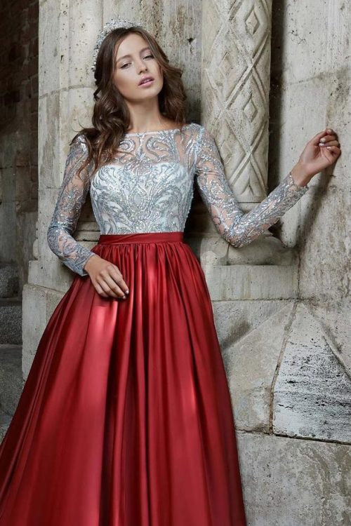 Close Up Silver Sequin Lace Red Taffeta Ballgown Skirt Modest Prom Dress Long Sleeves