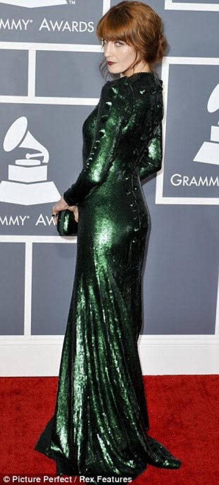 Florence Welch 2013 Grammy Awards Green Sequin Givenchy Gown