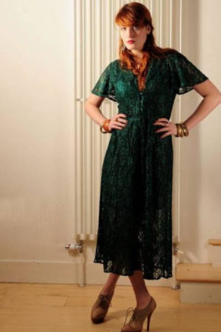 Florence Welch Casual Green Lace Dress