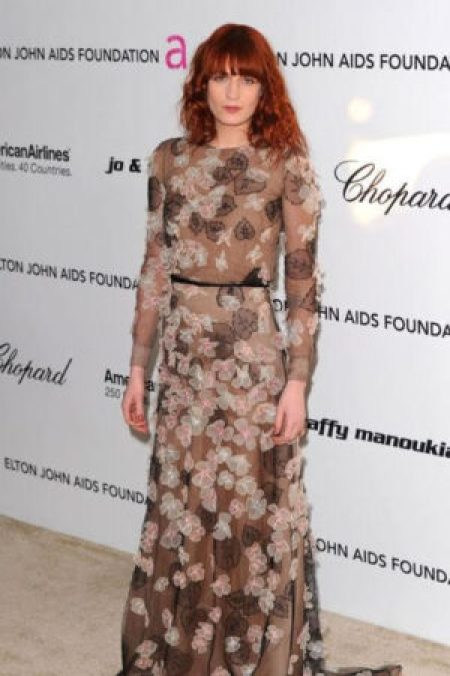 Florence Welch Gucci Brown Tasseled Dress February 2011