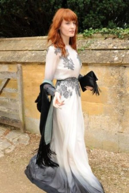 Florence Welch Lace White Black Ombre Dress