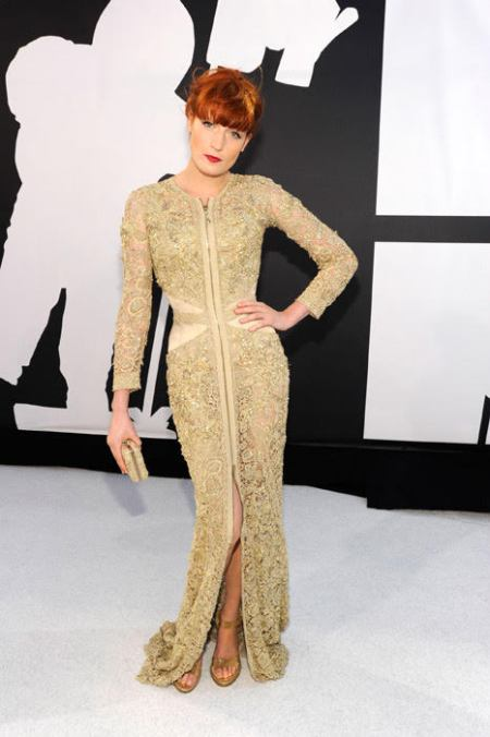 Florence Welch MTV Video Music Awards 2010 Intricately Jewel-Studded Givenchy Couture Gown
