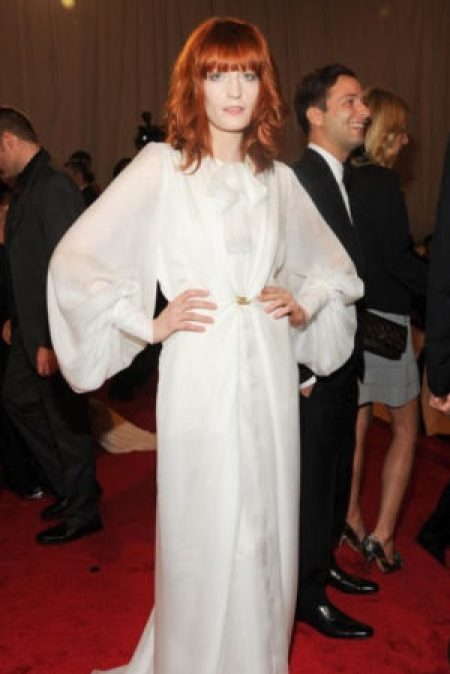 Florence Welch Wearing White Yves Saint Laurent Gown at the 2011 Met Gala