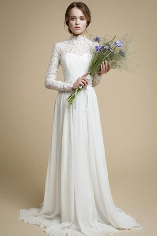 Lace Chiffon Long Sleeve Tznius Modest Light Ivory Wedding Dress