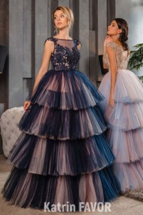 Navy Blue Blush Pink Layered Tulle Skirt Beaded Lace Bodice Modest Prom Dress Cap Sleeves