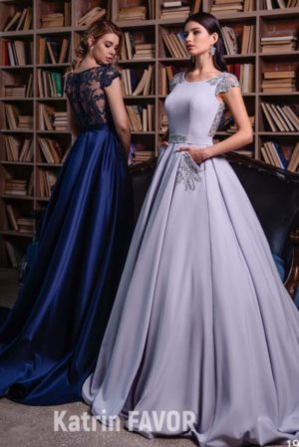 Navy Blue Grey Satin Bead Lace Modest Prom Dress Cap Sleeves Pockets