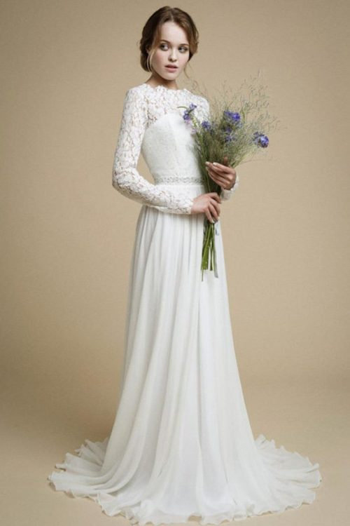 Side View Lace Chiffon Long Sleeve Modest Light Ivory Wedding Dress