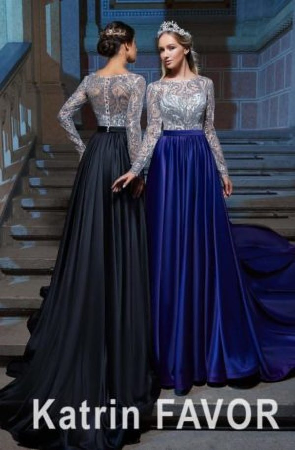 Silver Sequin Lace Cobalt Blue Black Taffeta Ballgown Skirt Modest Prom Dress Long Sleeves