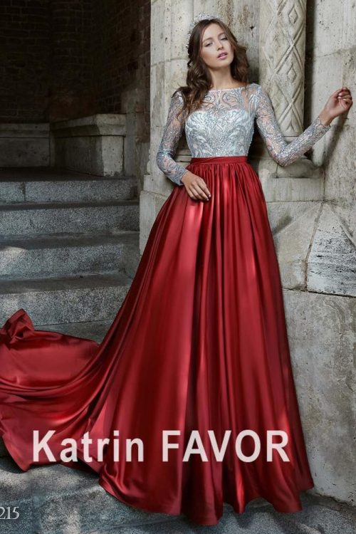 Silver Sequin Lace Red Taffeta Ballgown Skirt Modest Prom Dress Long Sleeves