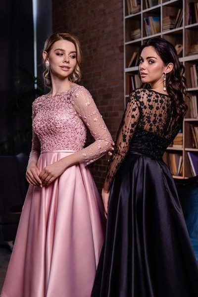 Vintage Inspired Pink Black Lace Bodice Satin Tea Length Skirt Modest Prom Dress Long Sleeves