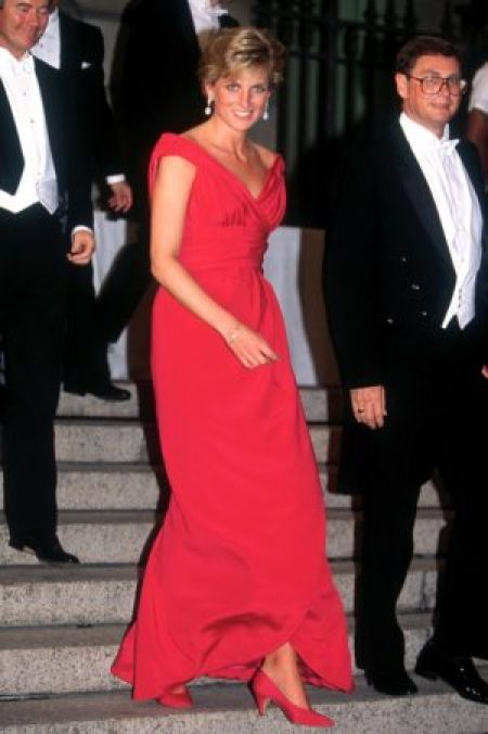 Victor Edelstein 1990 Princess Di Red Gown