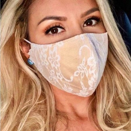 Champagne White Lace Bridal Face Mask