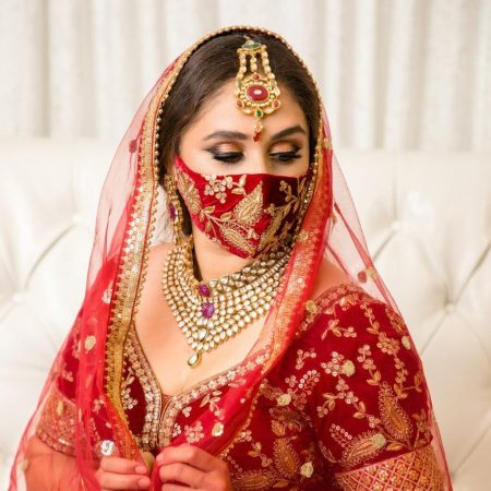 Red Indian Bridal Outfit Face Mask