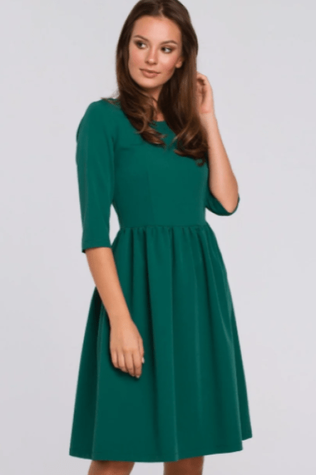 Fit Flare Three Quarter Sleeve Emerald Green Modest Dress Modli
