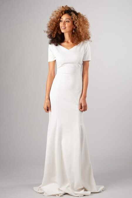 Latterday Bride Simple V Neck Modest Wedding Dress Sleeves