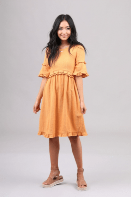 Marigold Yellow Ruffle Modest Dress Mikarose