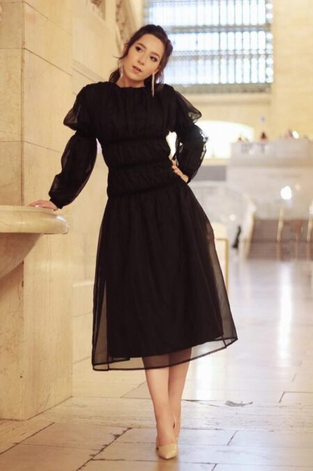 Modestiq Ruched Haute Couture Black Modest Midi Dress