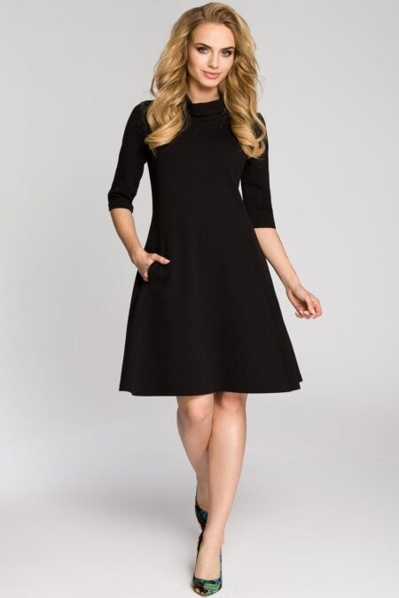 Modli Modest Black Flared Dress TurtleNeck Three Quarter Sleeves