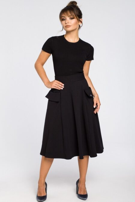 Modli Modest BlackFlared Midi Skirt Pockets Dress
