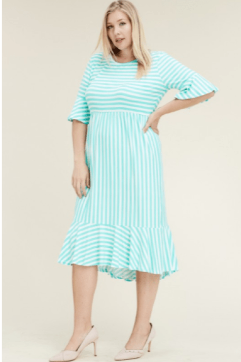 Pretty In Pink Bowtique Knit Turquoise White Striped Modest Midi Dress