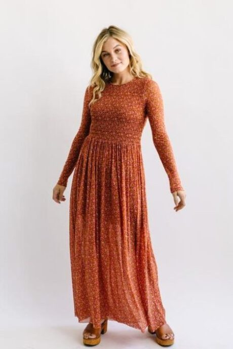 Rust Floral Free People Modest Dress Nest Boutique