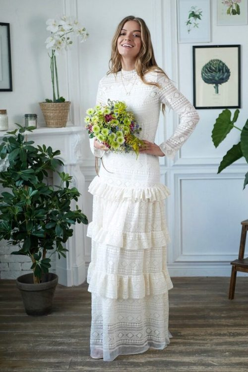 Bohemian Lace Tiered Skirt High Neckline White Lace Modest Wedding Dress