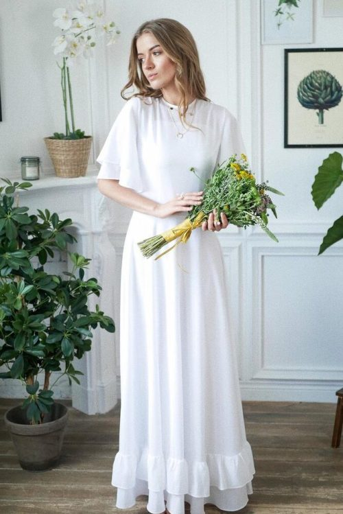 Bouquet White Chiffon Flutter Sleeve Ruffle Skirt Modest Wedding Dress