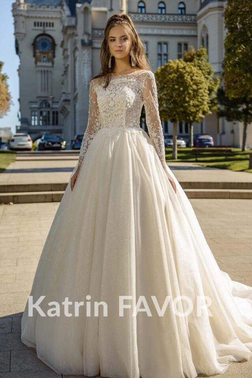 Ivory Cream Lace Tulle Modest Wedding Dress Train