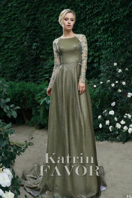 Sparkly Olive Green Beaded Lace Sleeves Modest Prom Dress