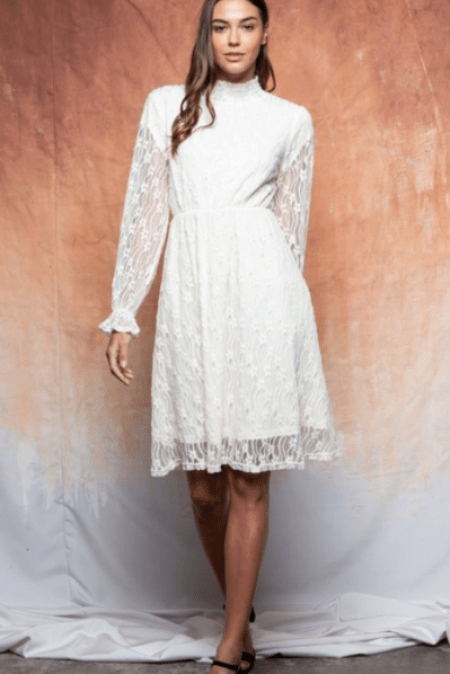Twirl Dress Boutique Ivory Long Sleeve Modest Lace Dress