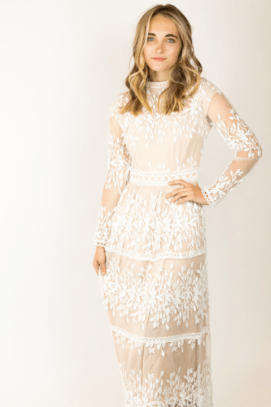 Twirl Dress Lace Modest Formal Beige White Lace Long Sleeves