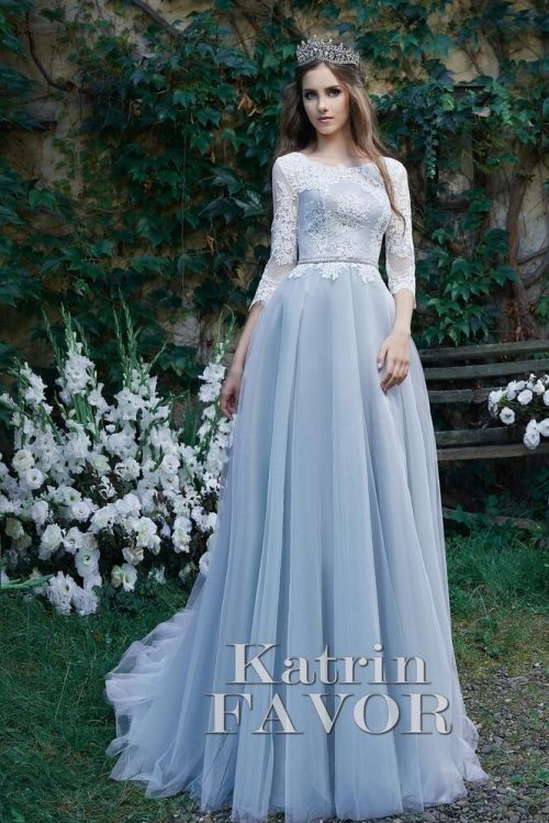 Pale Dusty Blue Lace Tulle Modest Prom Dress Half Sleeves