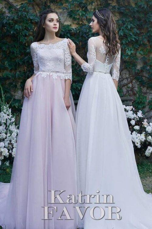 Pink White Lace Tulle Modest Prom Dress Half Sleeves