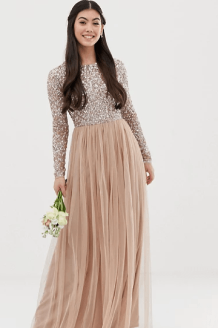 Rose Gold Sequin Tulle Modest Maxi Dress Long Sleeves